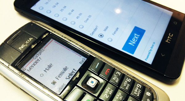 Mobile survey on Nokia feature phone, HTC smartphone