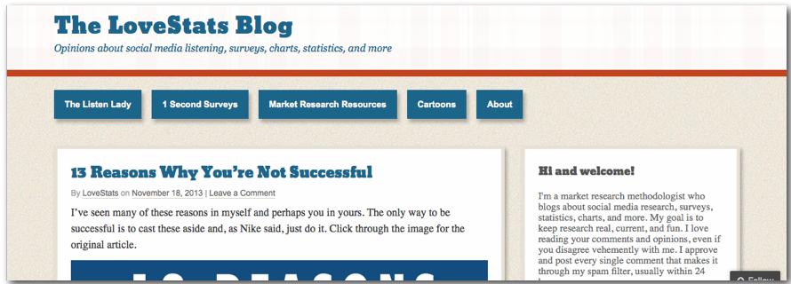 Love stats annie pettit Blog market research