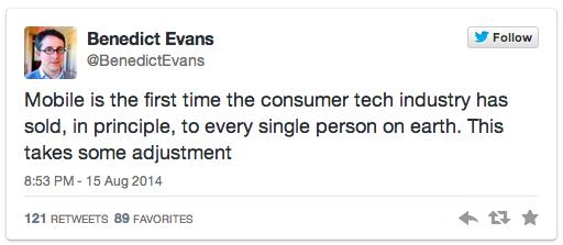 Benedict Evan's tweet